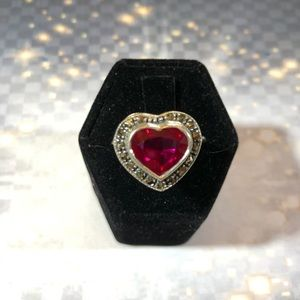 CZ Heart marcasite stones in sterling silver ring